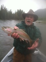 a nice rainbow trout on the clark fork river near missoula